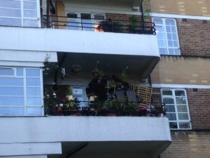 Pots and furniture for balcony garden